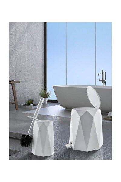 Beya Plastik 5 l Çöp Kovası ve Tuvalet Fırçası Geo 2'li Banyo Seti