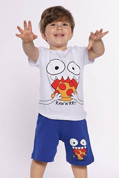 Erkek Çocuk Kaprili Pizza Baskılı  Takım
