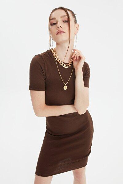 Kahverengi Mini Örme Elbise TWOSS19AD0053