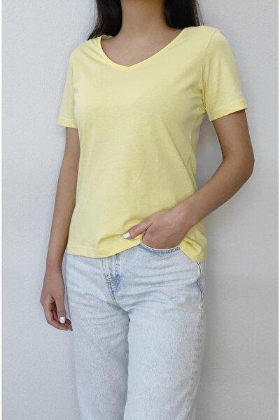 Kadın Sarı Basic V Yaka Kısa Kol T-shirt