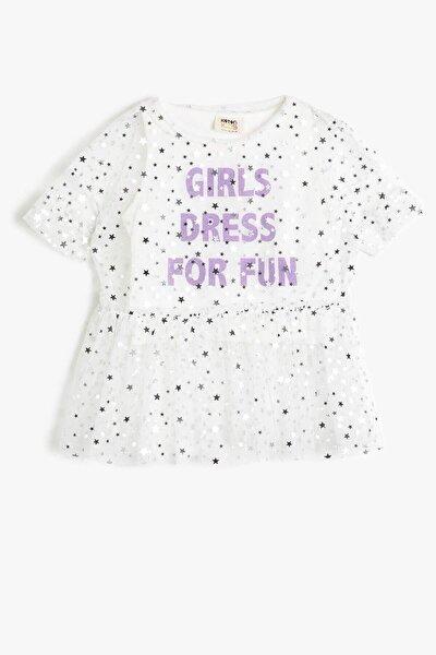 Koton Ekru Kız Çocuk T-shirt 0ykg17966ak