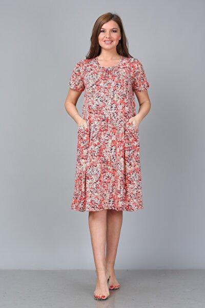 Kadın Desenli Viskon Kısa Kol Büyük Beden Elbise