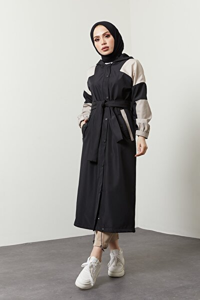 Kadın Siyah Iki Renkli Siyah Trençkot