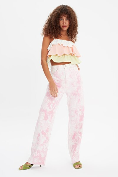 Pembe Batik Yıkamalı Yüksek Bel 90's Wide Leg Jeans TWOSS21JE0733