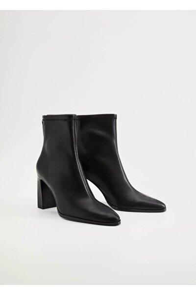 Kadın Siyah Topuklu Elastik Yarım Bot