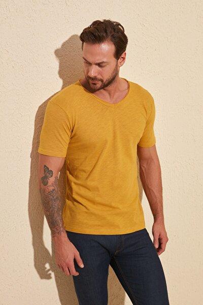 Hardal Basic Flamlı Süprem Regular Fit T-Shirt TMNSS20TS0035