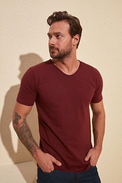 Bordo Basic Flamlı Süprem Regular Fit T-Shirt TMNSS20TS0035