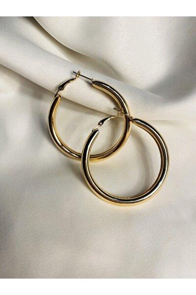 Kadın Altın Kalın Halka Altın Renk 5 cm Çaplı Küpe