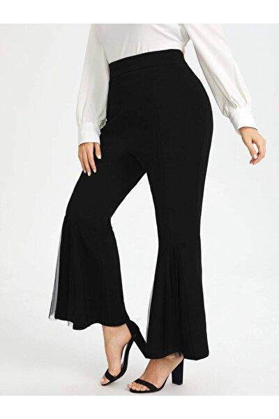 Büyük Beden Tül Detaylı Ispanyol Paça Pantolon Siyah