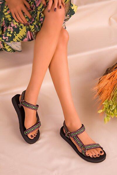 Pudra-Yeşil Kadın Sandalet 16304