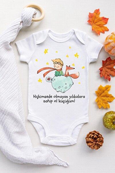 Unisex Bebek Beyaz Küçük Prens Çıtçıtlı Body