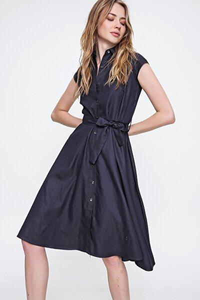 Kadın Lacivert Kolsuz Beli Kemerli Denim Elbise ALC-X6394