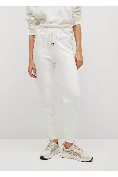 Kadın Beyaz Bağcıklı Jogger Pantolon