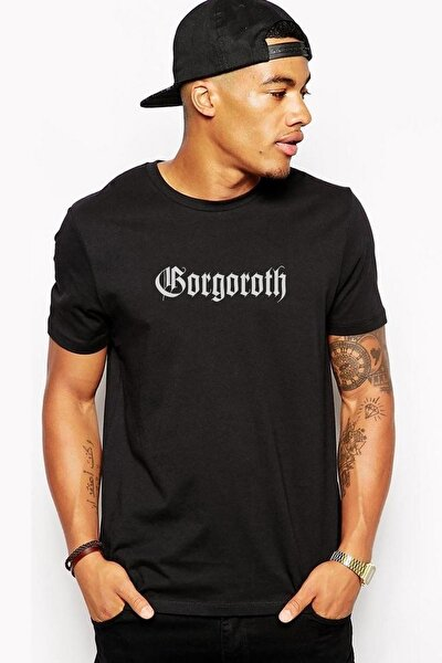 Logo Baskılı Siyah Erkek Örme Tshirt