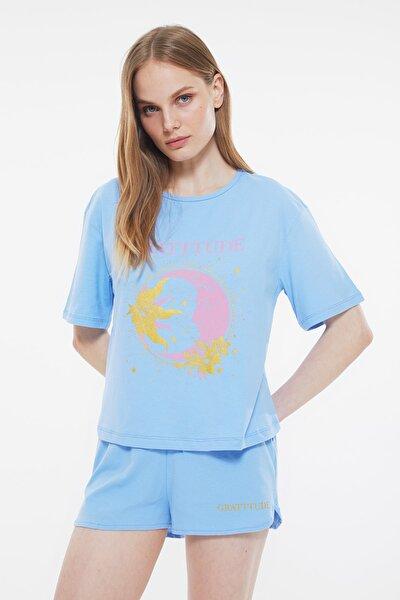 Mavi Baskılı Pijama Takımı THMSS21PT0885