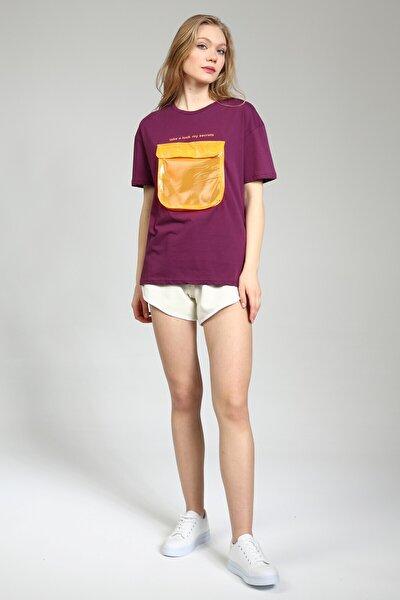 Kadın Mor Baskılı Şeffaf Cepli Tshirt