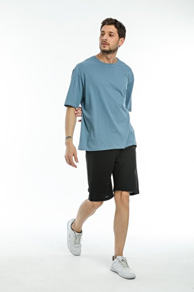 Erkek Mavi Oversize Basic T-shirt