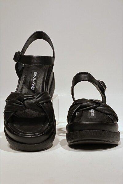 Siyah Platform Topuk Hakiki Deri Sandalet