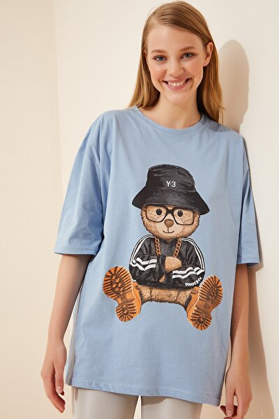 Kadın Gök Mavi Baskılı Oversize Uzun Penye T-shirt ZV00105