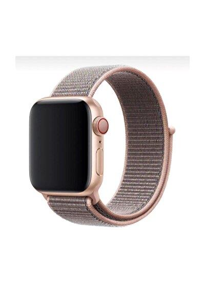 Apple Watch 1-2-3-4-5 Serisi Uyumlu Kahverengi Rose Gold Loop Kordon