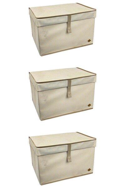 3'lü Çok Amaçlı Kutu Maxi Kahverengi Çizgili 50x40x30 Cm