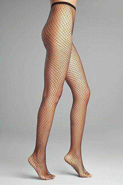 Kadın Siyah Orta File Külotlu Çorap