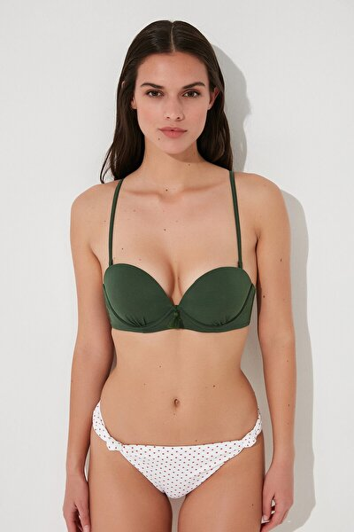 Kadın  Koyu Yeşil Basic Super Bikini Üstü