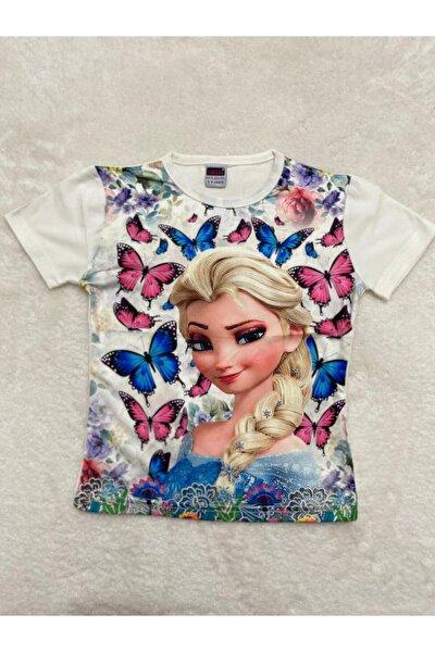 Kız Çocuk Mavi Yeni Sezon Elsa Baskılı T-shirt