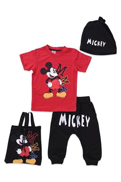 Erkek Çocuk Kırmızı Mickey Mouse Kaprili Eşofman Takımı