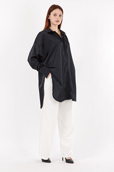 Kadın Siyah Saten Oversize Uzun Gömlek
