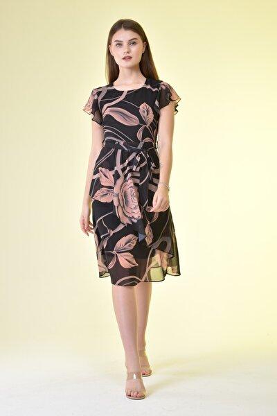 Kadın Siyah Bel Kuşaklı Gül Desenli Şifon Elbise