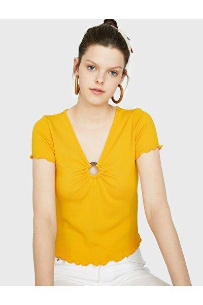 Kadın Sarı Toka Detaylı T-shirt