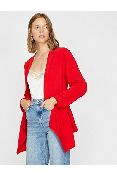 Kadın Kırmızı Uzun Kollu V Yaka Ceket 0KAK52062UW