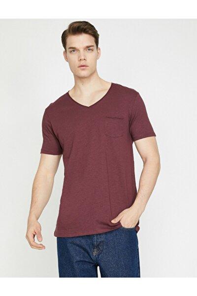 Erkek Bordo Cep Detayli T-Shirt