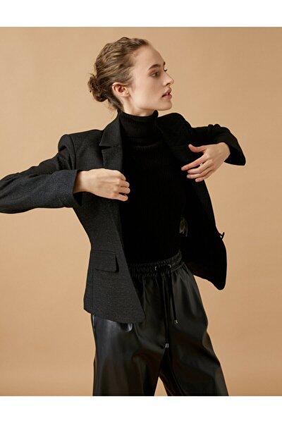 Kadın Siyah Sim Detaylı Ceket