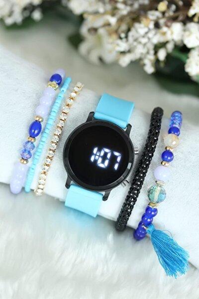 Kadın Turkuaz Led Saat ve Mavi Bileklik Kombini