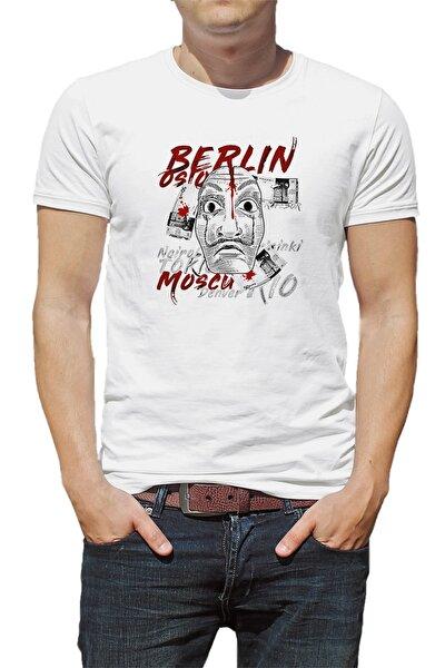 La Case De Papel Berlin Oslo Baskılı Beyaz Erkek Örme Tshirt
