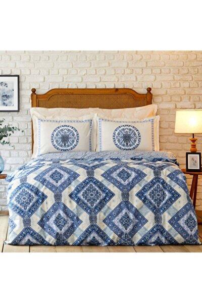 Levni Mavi Pamuk Çift Kişilik Pike Yastık Set
