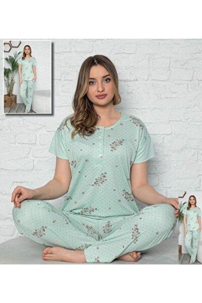 Stil Kadın Mint Yeşil Desenli Yarım Düğmeli Pijama Takım