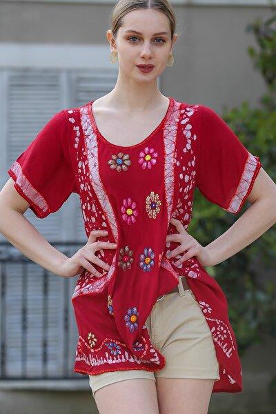 Kadın Bordo U Yaka Çiçek Nakışlı Batik Desenli Salaş Tunik Bluz M10010200BL95380