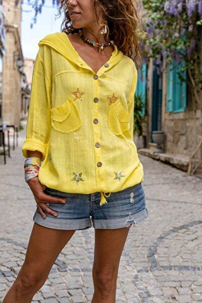 Kadın Sarı Yıkamalı Keten Fileli Yıldız Pullu Kapüşonlu Bluz GK-RSD2046