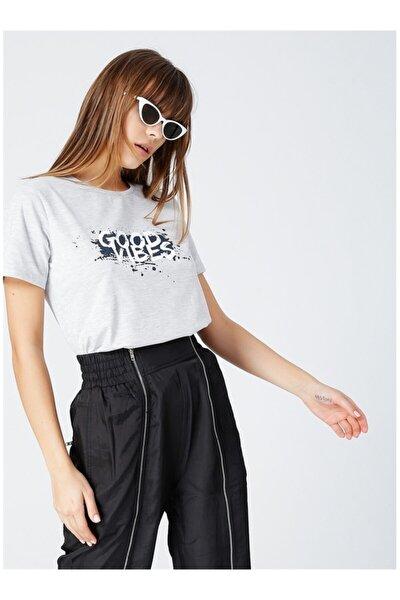 Kadın Gri Baskılı T-shirt