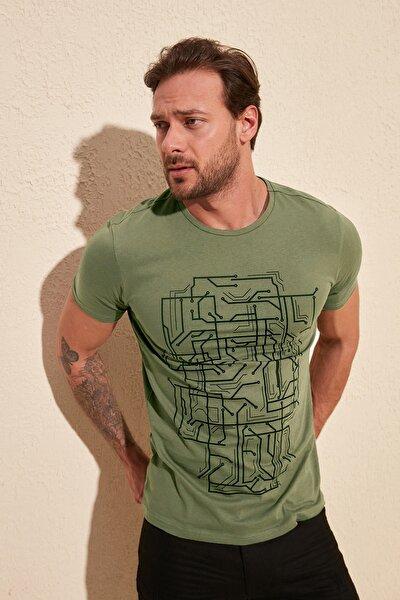 Haki Erkek Basic Slim Fit T-Shirt TMNSS20TS0088
