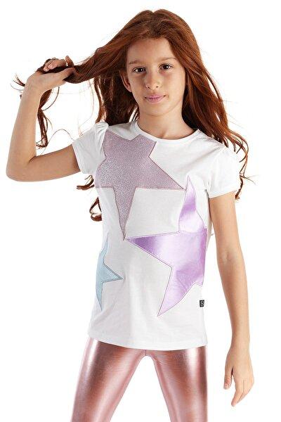 Kız Çocuk Beyaz Yıldız Patch Kısa Kol Tshirt