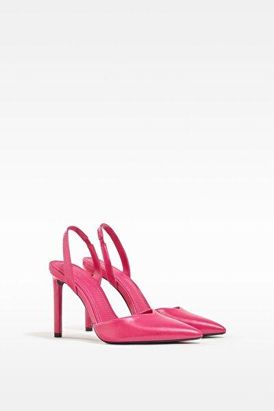 Kadın Fuşya Topuğu Açık, İnce Topuklu Ayakkabı