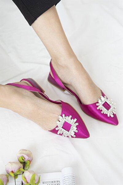 Kadın Mor Loden Topuklu Taş Detay Saten Sandalet