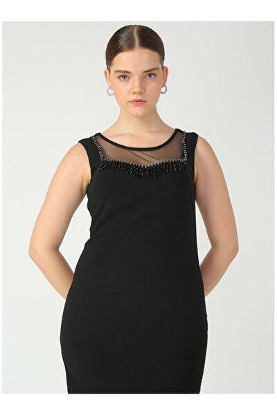 Kadın Siyah Üstü Tül Dekolteli Elbise