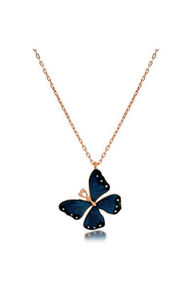 Mavi Kelebek Zarif Gümüş Kolye