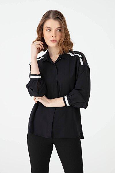 Kadın Omuzu Çizgili Tül Kumaş Gömlek Gm1080 Siyah
