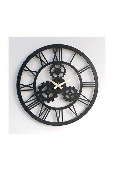Siyah Ahşap Dekoratif Sessiz Dişli Çarklı  Duvar Saati 50 cm 6mm Mdf